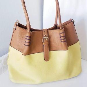 Black Rivet Yellow/Brown Large Purse Handbag